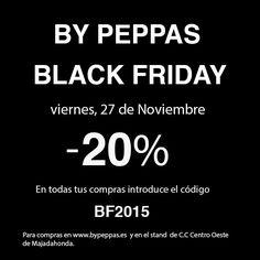BLACK FRIDAY en By PEPPAS el próximo viernes 27 de Noviembre. Tendremos un 20% de descuento en todos los modelos durante todo el día, en nuestra SHOP-ONLINE y en el stand del C.C Centro Oeste de Majadahonda. ¡Anticiparos ya a vuestras primeras compras navideñas!.