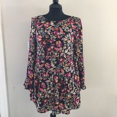 Floral bell sleeve mini dress Perfect for spring and in great condition! Only worn once. Would look great with booties ❤️ Divided Dresses Mini