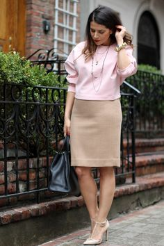 ** blush top + beige skirt or pants + snakeskin ankle strap pumps // What to Wear to Work; J.Crew Pencil Skirt and Cropped Top