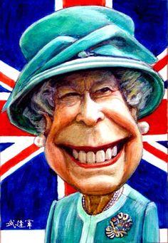 Caricaturas Chistosas | Caricaturas graciosas de políticos famosos: Reina de Inglaterra