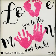 Love you to the Moon and Back Wooden Sign, Handprint and Footprint Art, Toddler Footprint Craft, Baby Footprint Craft - Valentinstag Geschenkideen Toddler Valentine Crafts, Mothers Day Crafts For Kids, Toddler Crafts, Infant Crafts, Homemade Valentines, Baby Footprint Crafts, Baby Crafts, Crafts For Babies, Baby Footprints