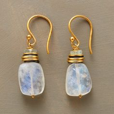 BELLA LUNA EARRINGS--Rainbow moonstone nuggets accented with aquamarines, 18kt gold vermeil rings and earwires, brushed sterling and 18kt goldplated brass disks. Handcrafted in USA. Exclusive. Approx. 1-3/8L.