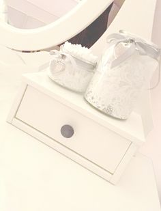 ♥Sneak Peak of My Vanity♥ IKEA HEMNES Dressing table with mirror in white. The Jars are from FlutterByes.