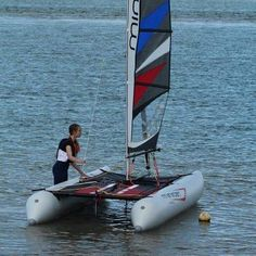 Laura Dekker getting ready to sail her very own namesake limited edition MiniCat 420! #sailboat #sailboats #minicat #sailing #catamaran #outdoors #outdoorlife by redbeardsailing