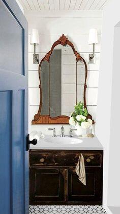 Pick My Presto – Jane's Half Bath (The Lettered Cottage) Bathroom Renos, Bathroom Interior, Small Bathroom, Interior Doors, Lavabo Vintage, Upstairs Bathrooms, Cottage Bathrooms, Downstairs Bathroom, Up House