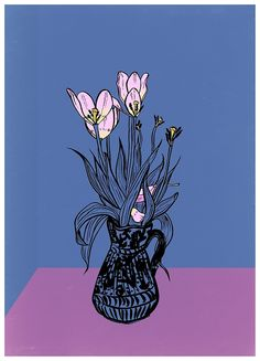 Wonky Flowers. #flower #simple #contemporary #illustration #popart #lowbrow #floral #flower #spring www.uncouthkat.com