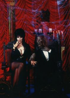 Elvira and the Cryptkeeper in an advert for Knott's Scary Farm's 1998 Halloween Haunt.