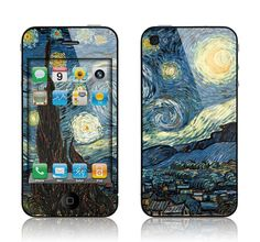 Apple iPhone 4 4S Decal Skin Cover - Van Gogh Starry Night Cover GLOSSY MATTE LEATHER option. $9.95, via Etsy.