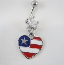 """AMERICAN FLAG HEART BLING NAVEL RING SURGICAL STEEL 14G 3/8""""  BELLY BUTTON A716"""