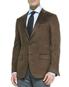 Ermenegildo Zegna Heathered Silk Jacket, Brown, Men's, Size: 44L