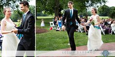 Bride and groom dance down the aisle after their wedding at Chauncey Conference center in Princeton, NJ.