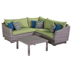 "RST Brands Cannes 4-Piece Corner Sectional Set with Cushions, Ginkgo Green, 31"" x 48"" x 33"". Overall dimensions: sofa sections: 2) 48 in w x 33 in  d x 31 in  h corner unit: 33 in w x 33 in d x 31 in h. Conversation table: 33 in w x 33 in d x 16 in h seat height: 19 in weight capacity: 400 lbs. Powder-Coated aluminum frame. Holds up great in salt and chlorinated environments. Warranty details: one year."