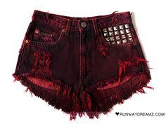 Runwaydreamz : Scarlett Vintage Frayed Studded Shorts
