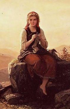 """Young Girl Knitting"", 1851, by Johann Georg Meyer von Bremen (German, 1813-1886)"