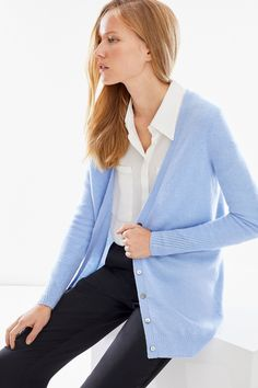 Made from cashmere in a relaxed boyfriend fit, with a deep V neck with fashioning detail and beautiful smoke shell button fastenings, this cardigan makes an elegant everyday investment piece. Hand wash only. Boyfriend Cardigan, Fashion Details, Diana, Cashmere, Shell, Bell Sleeve Top, V Neck, Deep, Smoke