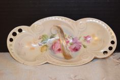 German Porcelain Oval Platter with Handle Vintage Hand Painted Serving Tray Pink Roses Oval Handled Dish Shabby Chic Cottage Chic Serving