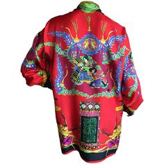 """Pre-owned Vintage Versace Silk """"Samurai"""" Blouse ($400) ❤ liked on Polyvore featuring tops, blouses, shirts, blouses and tops, silk blouses, red shirt, vintage silk blouse, vintage shirts i red silk top"""