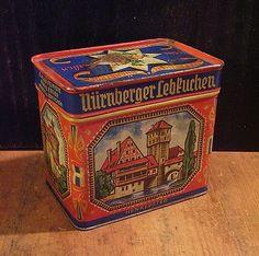 $9 Vintage Haeberlein Metzger Lebkuchen Tin Orange w Architectural Scenes on eBay!