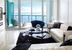 Miami condo loft, all white and blue
