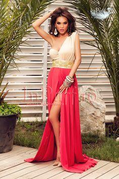 Rochie de seara lunga cu despicatura in fata bej cu rosu pe un umar Atmosphere -->>>> http://www.fashion8.ro/rochii/1025-rochie-de-seara-lunga-cu-despicatura-in-fata-bej-cu-rosu-pe-un-umar-atmosphere
