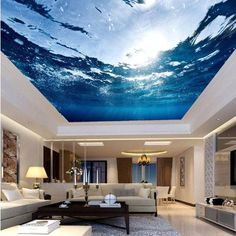 False Ceiling Living Room false ceiling with fan and chandelier.False Ceiling Design For Hall. Wallpaper Ceiling, Ceiling Murals, 3d Wall Murals, Floor Murals, Floor Wallpaper, Ceiling Ideas, Photo Wallpaper, Wallpaper Murals, Ceiling Paper