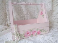 ROMANTIC PINK TOTE CADDY hp roses chic shabby vintage cottage hand painted wood  #VINTAGEWOODTOTE