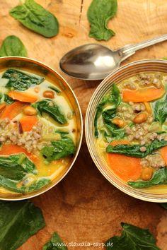 Spinat-Buchweizen-Curry mit Karotten und Erdnüssen Vegan Dinner Recipes, Vegan Dinners, Healthy Recipes, Healthy Food, Lean Meals, Spring Recipes, Food Diary, Diy Food, Food Inspiration