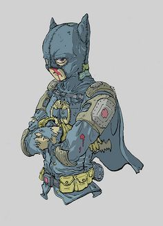 """Batman in the style of KatsuhiroOtomo - the artist of Akira """"I love the idea of a Batman who is neither rich nor sane. Like a deranged super-hobo."""""""