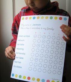 "Chore chart - Love how it says: ""This is how I contribute to my family."""
