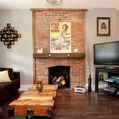 Red brick fireplace w white mantel alyssadreissnackPaint for