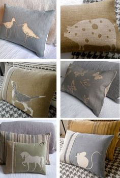 Hand printed rustic cushions from top left;  Two Red Trees.