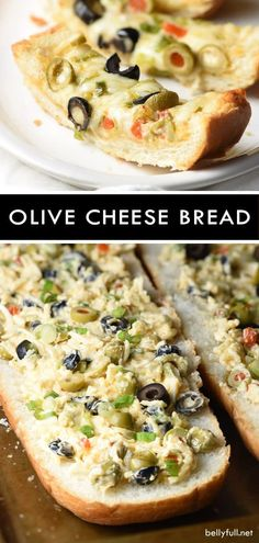 This Olive Cheese Bread is an easy and delicious appetizer with salty olives, gooey cheese, and crunchy bread. This Olive Cheese Bread is an easy and delicious appetizer with salty olives, gooey cheese, and crunchy bread. Finger Food Appetizers, Yummy Appetizers, Appetizers For Party, Appetizer Recipes, Bread Appetizers, Easy Fingerfood Recipes, Easy Appies, Vegetable Appetizers, Chicken Appetizers