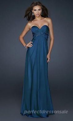 A-Line Blue Prom Dresses Strapless Chiffon Prom Dresses 02696