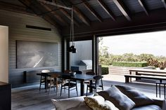 Contemporary farmhouse designed by Canny Architecture situated in Flinders, Victoria, Australia. Home Builders Melbourne, Architects Melbourne, Black Interior Design, Luxury Cabin, Shed Homes, Tiny House Cabin, Cabins And Cottages, Farmhouse Design, Residential Architecture
