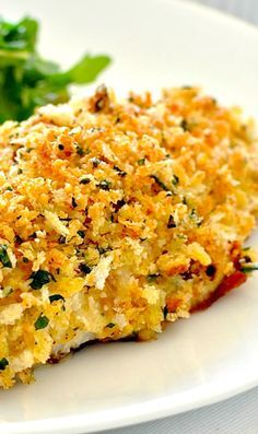 BAKED PARMESAN CRUMBED FISH ~ Says: Packed generously with a thick, crunchy coating of parmesan and garlic breadcrumbs, this is one fish that everyone is sure to love. Using this recipe, you'll get perfectly golden crumbs and perfectly cooked fish every time. And the clincher? It's on the table in just over 10 minutes. I made this using perch fillets (skin off) but you can use any firm white fish fillets.