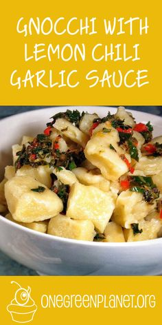 Gnocchi With Lemon Chili Garlic Sauce ; Vegan ; easy ; quick ; kale