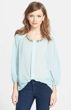 Pleione Embellished Blouse (Regular & Petite) available at #Nordstrom