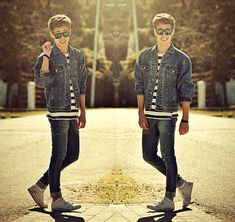 Adidas White Sneakers, Pull & Bear Blue Denim Skinny Jeans, Vintage Denim Jacket, Primark Sunglasses, Striped Navy T Shirt