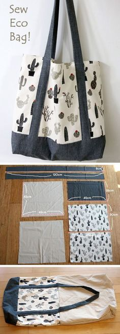 V Sew your own unique and eco-friendly shopping bags! Viene molto bene, però l'interno va modificato per farlo a fondo rettangolare ed eventualmente aggiungere tasche. Il tutorial è molto chiaro.