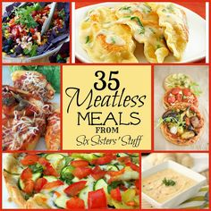 Great for Lent Sick of the same old chicken and beef? 35 Meatless Meals are a delicious change to your Menu! Veggie Recipes, Vegetarian Recipes, Cooking Recipes, Healthy Recipes, Vegetarian Dinners, Meal Recipes, Veggie Dishes, Crockpot Recipes, Yummy Recipes