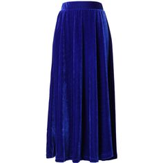 Chicwish Velvet Pleated Maxi Skirt in Navy Blue ($42) ❤ liked on Polyvore featuring skirts, chicwish, blue, blue pleated skirt, long velvet skirt, navy blue skirt, navy pleated maxi skirt and maxi skirt