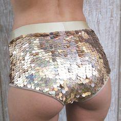High waisted shorts ' sequin hot pants !! booty shorts! Hand made, burning man , coachella, costume, wearable art, festival fashion~ ladeetaha.com