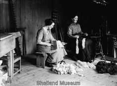 Spinning and 'cairding', Shetland Islands, 1920's. Lots of old photos on this site