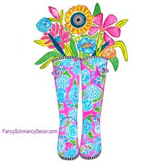 Happy Rubber Boots Fusia with Flowers Stake by The Round Top Collection S8016