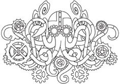 Mechanica Aquatica - Octopus design (UTH4967) from UrbanThreads.com
