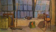 Joseph Solman Studio Interior, oil on Board, 12x20, 1942