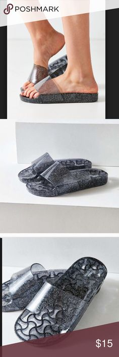Urban Outfitters Black Sparkle Jelly Pool Slides New in mail order packaging. Size 6 Urban Outfitters Shoes Sandals