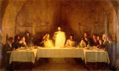 Eucharist- this image shows the last supper when Jesus gave the disciples bread which he said was the body of Christ. When we have the eucharist it is the body of Christ which we are eating. Catholic Art, Religious Art, Roman Catholic, Catholic Easter, Catholic Theology, Catholic Religion, Catholic Prayers, The Last Supper Painting, Last Supper Art