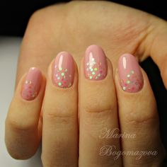 April nails, Nails for spring dress, Pale pink nails, Pink dress nails, Pink manicure ideas, Pink nail polish with sparkles, Pink spring nails, Spring nail art