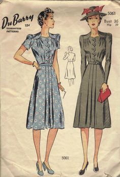 1940s Tea Dress WWII Fashion Pleated Skirt Front Scallop Sweetheart Neck Long Short Sleeves Puff Shoulders Du Barry Sewing Pattern Bust 36. $18.50, via Etsy.